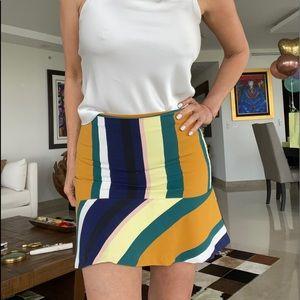 Zara striped mini skirt with ruffle